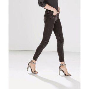 Zara Basic Moto Cropped Ankle Zip Black Jeans
